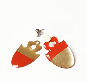 Red and gold asymmetric trendy christmas Acorn Earrings