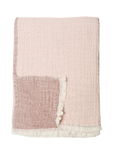 Cotton Throw in Faded Rose