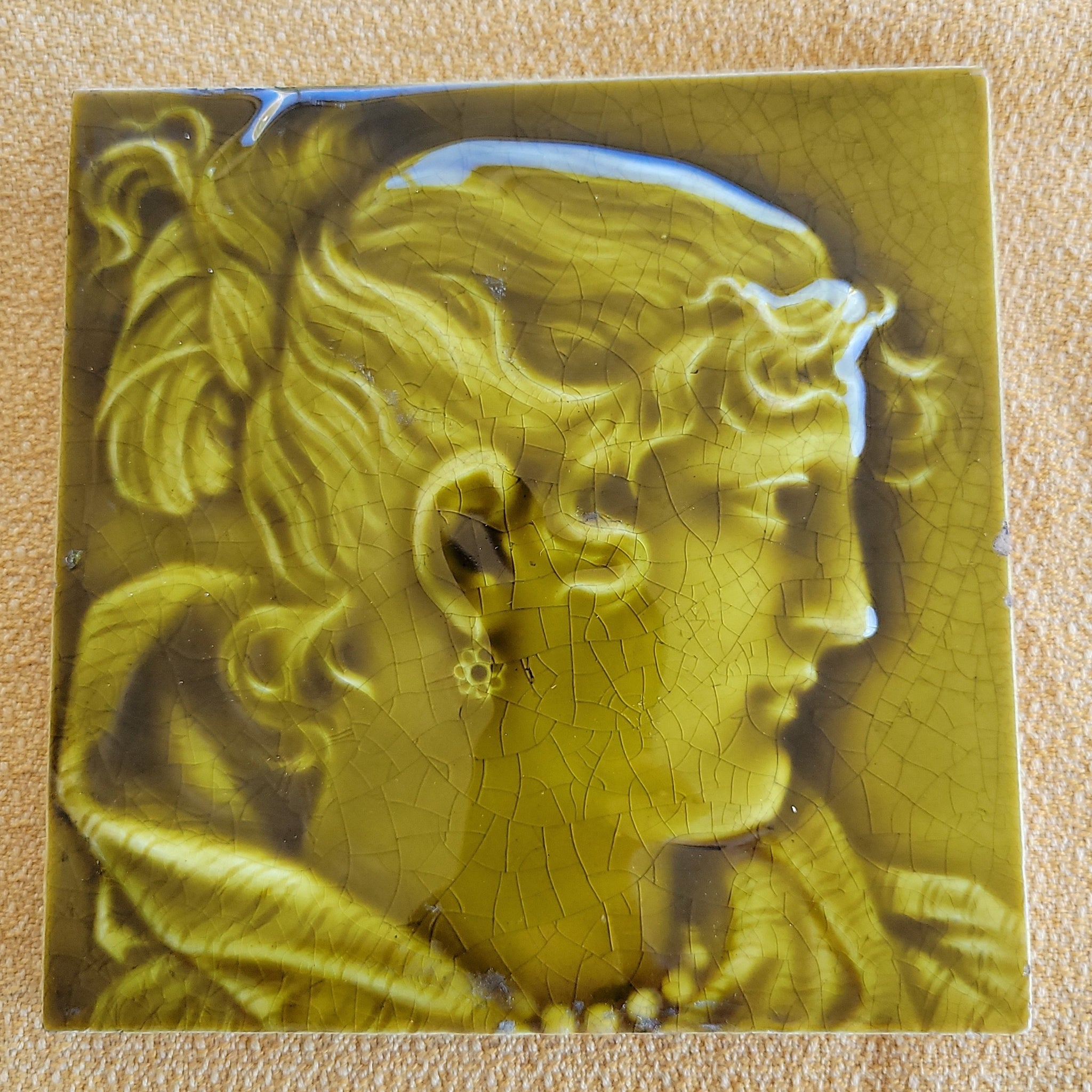 1880's-1930's Ceramic Fireplace Wall Tile of Lady
