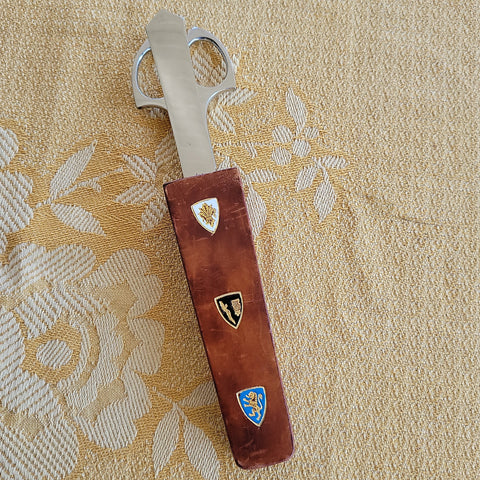 Vintage Scissor Letter Opener Set in Wooden Holder Made in Italy