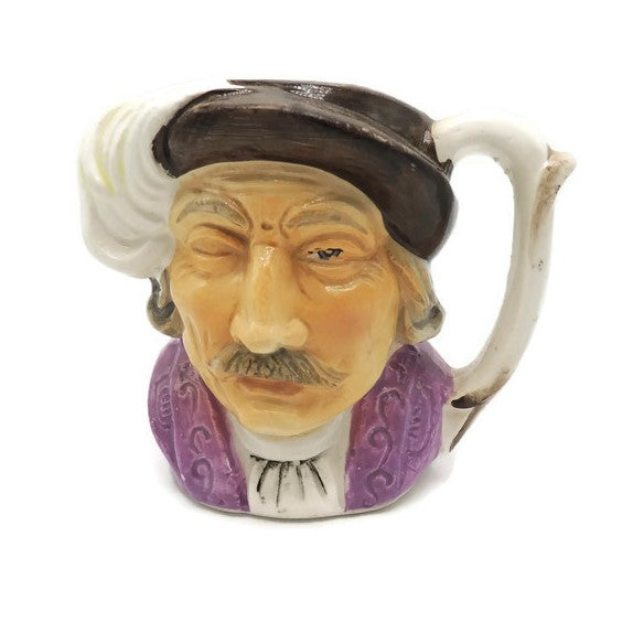 Vintage Unmarked Man with Feather in Hat Toby Mug