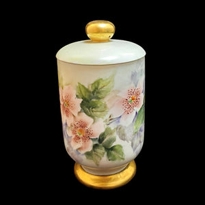 "Antique Gilded Flowered Porcelain Jam Jar with Lid Marked ""MM"""
