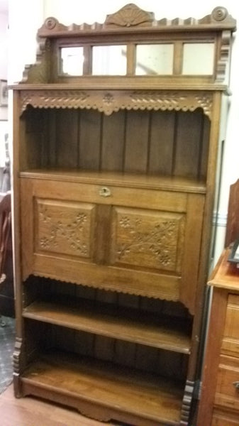 LATE 1800's TO EARLY 1900's EASTLAKE STYLE DROP FRONT SECRETARY SHELF