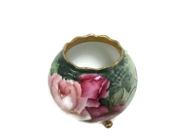Gilded Hand-Painted Roses Vase