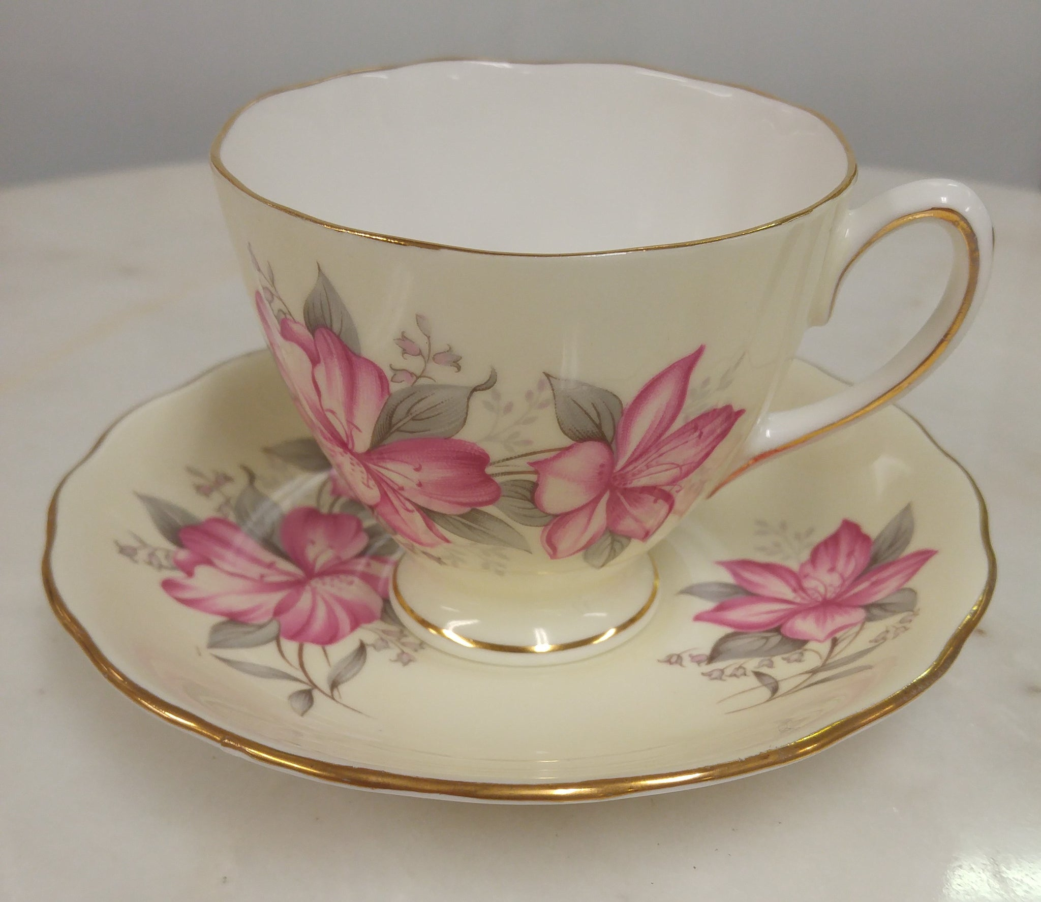Colclough China Red Hibiscus Tea Cup