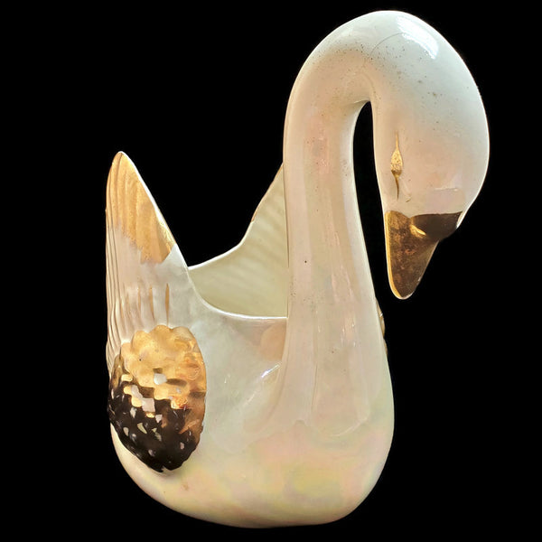 Vintage White Iridescent Gilded Swan Planter Marked No. 24