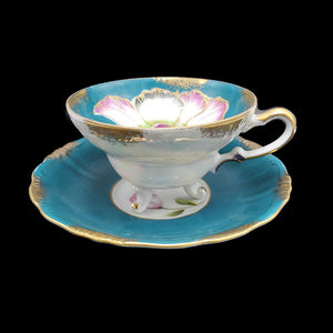 1940's Footed 22K Gold Gilded Hand Painted Teacup & Saucer by Royal Sealy China