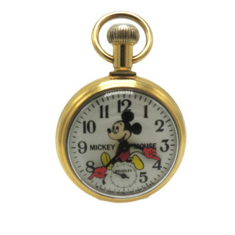 1970's Mickey Mouse Gold Tone Pocket Watch by Bradley
