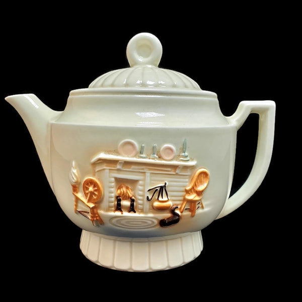 1940's Porcelier Teapot with Raised Fireplace Scene