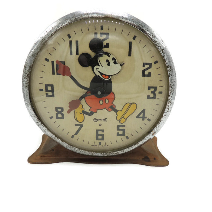 Rare Brown 1934 Mickey Mouse Alarm Clock by Ingersoll