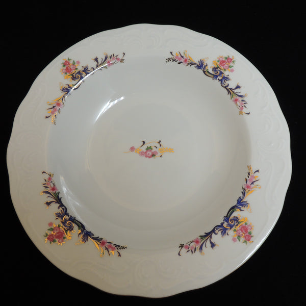 "MNU3 China Pattern by Menuet Made in Poland - 8-1/2"" Rim Soup Bowl"