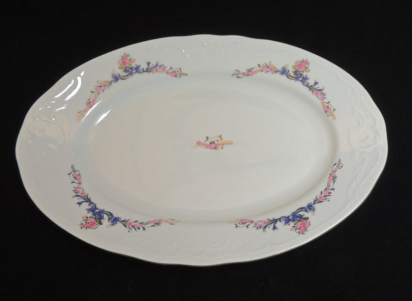 "MNU3 China Pattern by Menuet Made in Poland - 13 1/2"" Oval Serving  Platter"