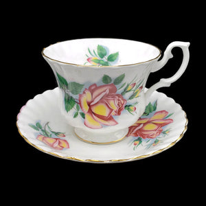 Royal Albert Pedestal Tea Cup & Saucer - Yellow & Red Friendship to Love Rose