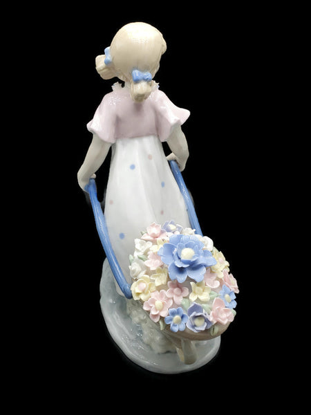 Vintage Porcelain Girl with Flower Wagon Figurine Signed Sorelle
