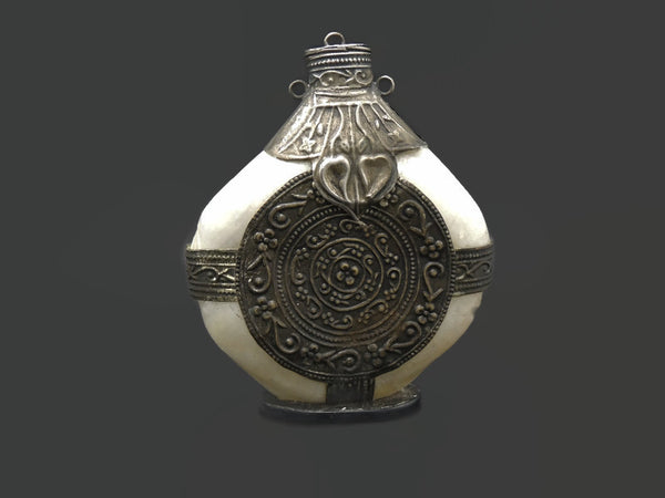 Vintage Mother of Pearl and Silver Snuff Bottle