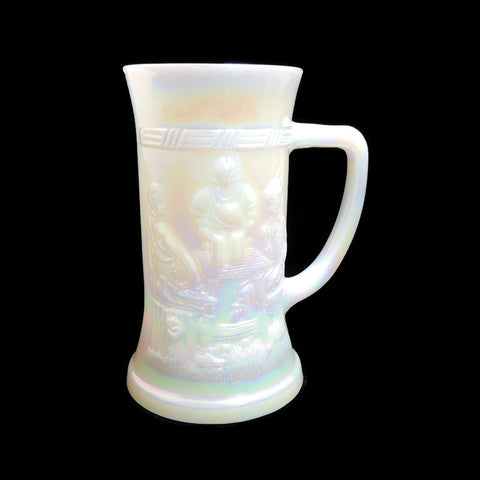 Vintage Iridescent Milk Glass Beer Stein by Federal Glass