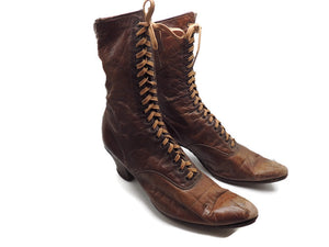 1800's Ladies Leather Victorian High Lace Boots