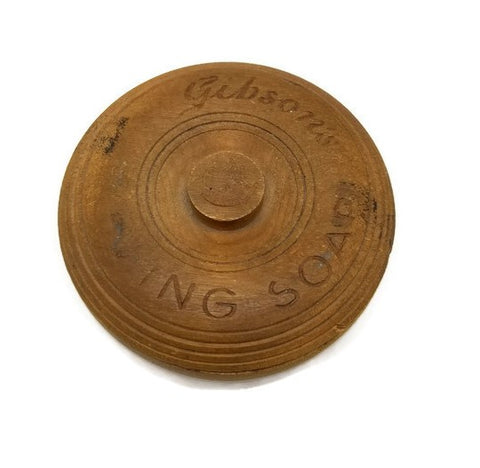 Early 1900's Wooden Gibson's Shaving Soap Bowl With Lid