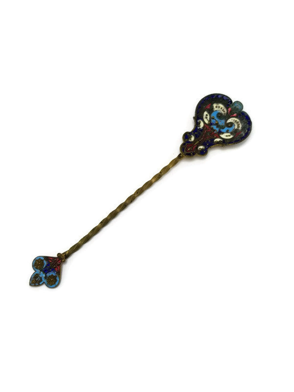 1800's Antique French Champleve Brass and Enamel Gilted Decorative Spoon