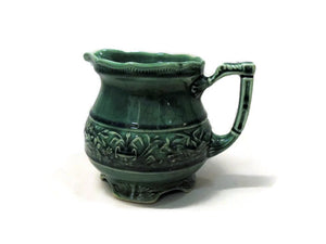 Small Green Majolica Pitcher