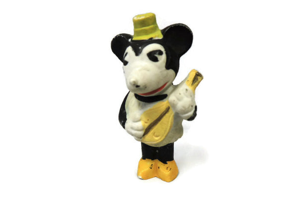 1930's Pie Eyed Minnie Mouse with Mandolin Bisque Figurine