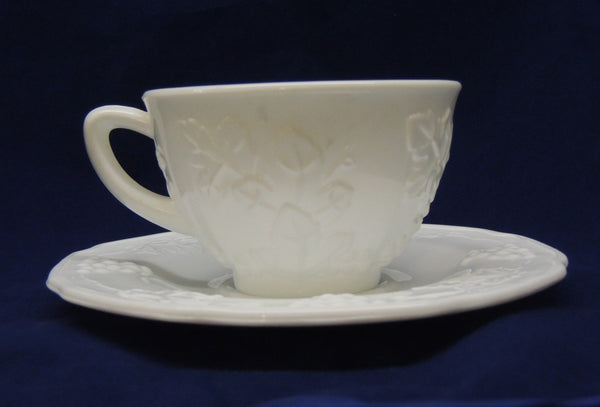 Milk Glass Cup & Saucer Set - Harvest Pattern by Colony