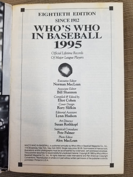 1995 Who's Who in Baseball, 80th Edition