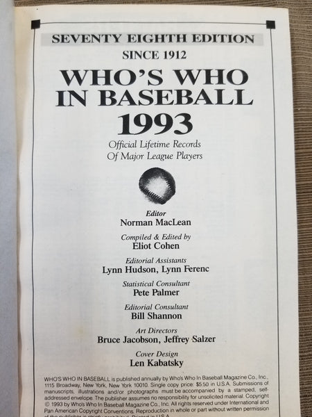 1993 Who's Who in Baseball, 78th Edition