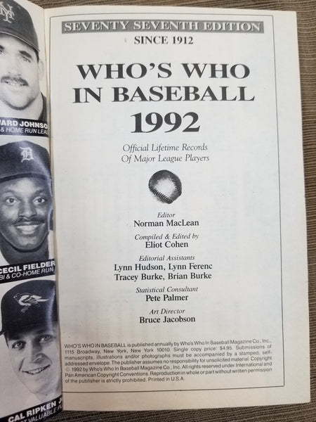 1992 Who's Who in Baseball, 77th Edition
