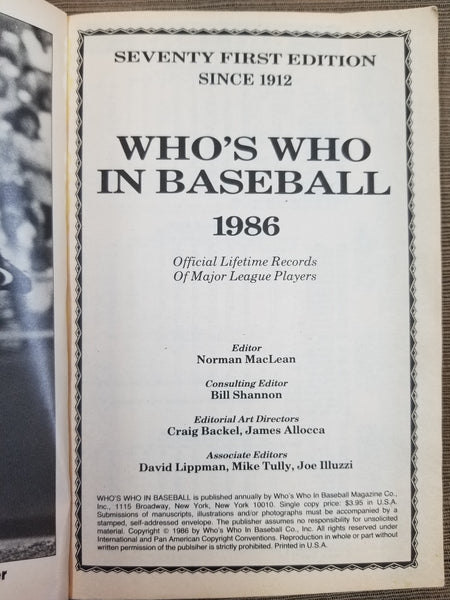 1986 Who's Who in Baseball, 71st Edition