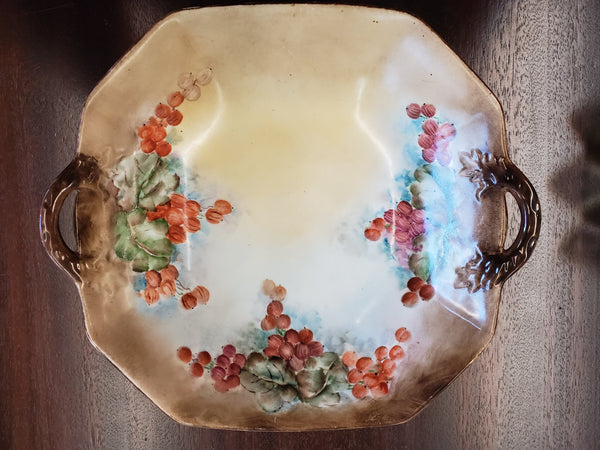 Vintage 8-Sided Ceramic Bowl with Grapes