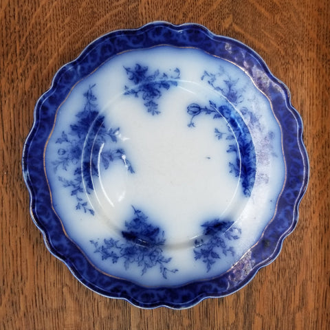 1928 Touraine Flow Blue Plate by Stanley Pottery Co.