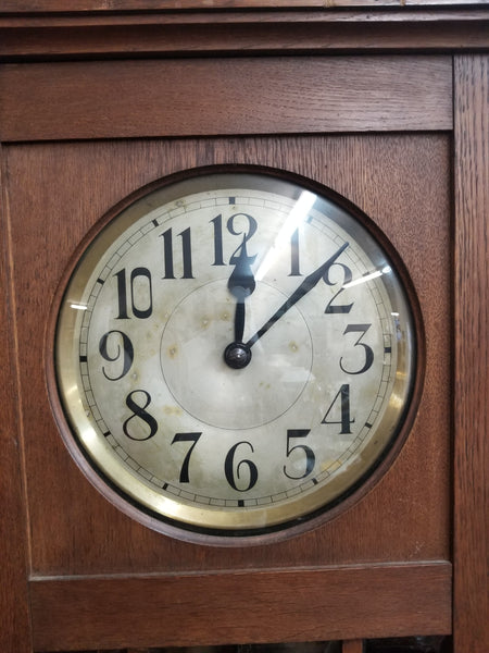 1878 GUSTAVO BECKER OAK CASE GRANDFATHER CLOCK
