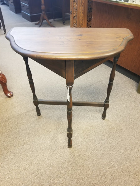 1800's HALF-MOON CONSOLE TABLE WITH INKWELL AND QUILL HOLD COMPARTMENT