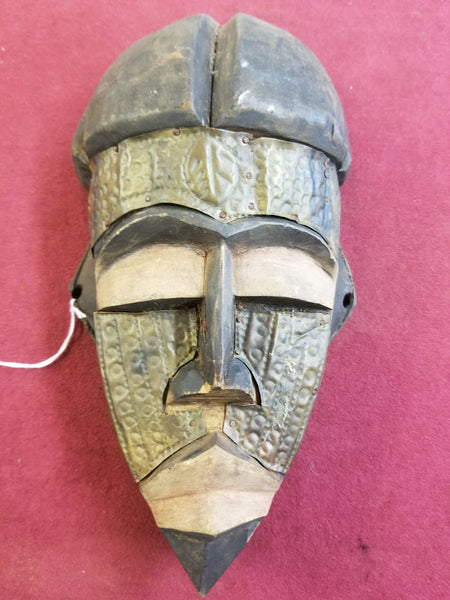 MID TO LATE 1800's HAND CARVED WOOD AND TIN MASK