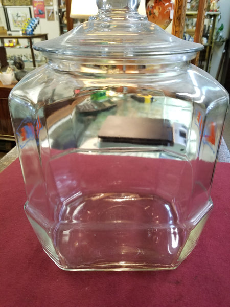 1950's 8-SIDED GLASS LANCE CRACKER COOKIE JAR WITH LID