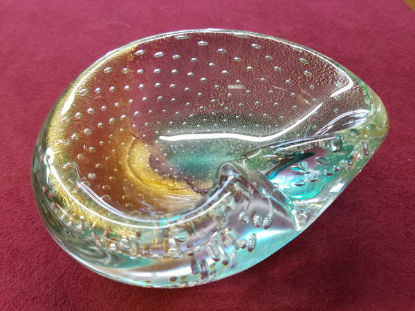 VINTAGE SOMMERSO TURQUOISE AND GOLD CONTROLLED BUBBLES HANDBLOWN MURANO GLASS BOWL