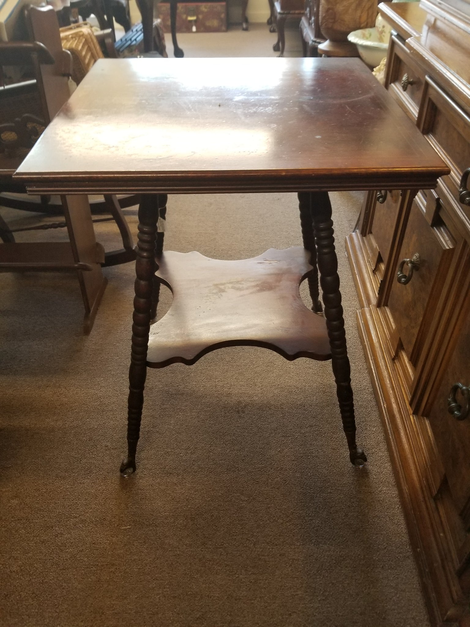 LATE 1800's EARLY 1900's EAGLE CLAW GLASS BALL FEET SQUARE TABLE