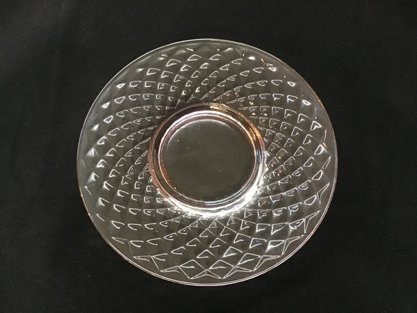 "1930's Pink Depression Glass 6"" Plate Diamond Quilted Pattern"