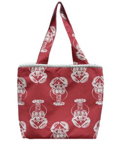 Bold Lobster Red w Cream Rope Bag