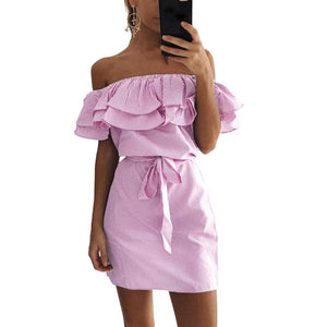 Casual Off Shoulder Ruffles Stripe Dress