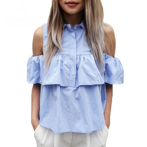 Casual Cold Shoulder Turn Down Ruffles Blouse