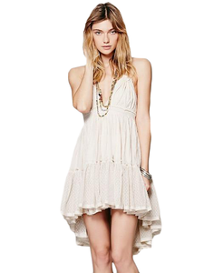 Casual Boho Backless Mini Dress