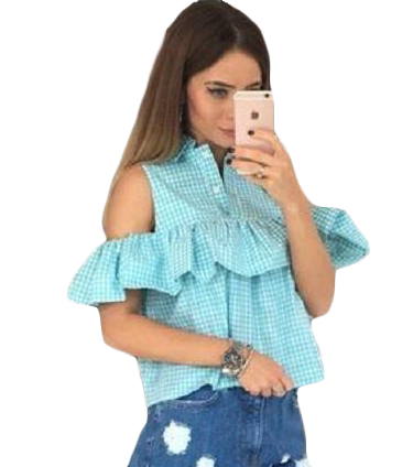 Casual Plaid Striped Off the Shoulder Blouse