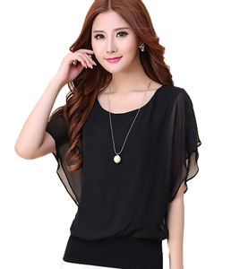 Casual Ruffle Batwing Short Sleeve Blouse