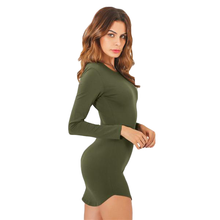 Fitted Long Sleeve Solid Color Bodycon Dress