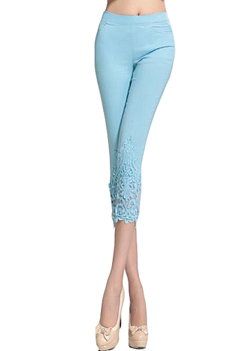 High Waist Slim Elastic Lace Capris Pants