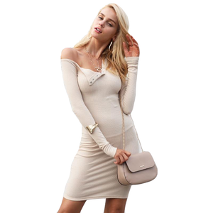 Sexy One Shoulder Long Sleeve Bodycon Dress