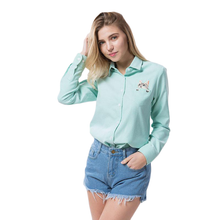 Summer/Autumn Cat Embroidery Long Sleeve Blouses