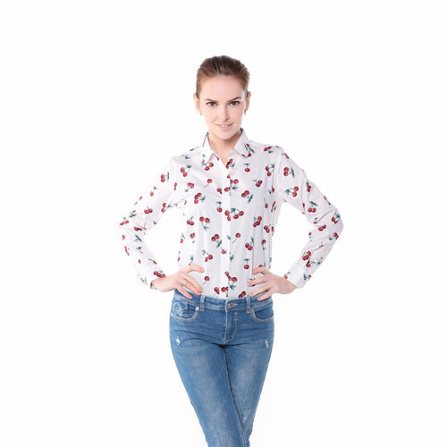 Casual/Office Cherry Print Long Sleeve Blouse